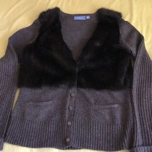 Simply Vera wool sweater with faux fur accents